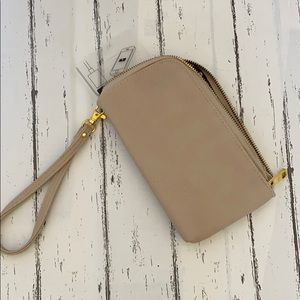 Nude wristlet with phone charger